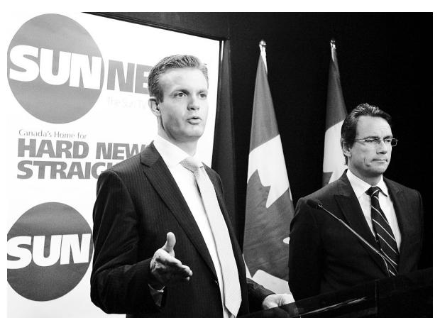 "When Kory Teneycke (l) was Communications Director fo the PM they lunched with Fox News President Rupert Murdoch. Four months later he left his position to lead Quebecor Media's attempt to rewrite CRTC rules to start a ""Fox News North""."