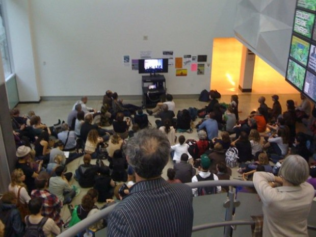 OCAD's lobby became the overflow room to the overflow room