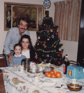 My Dad, my big Sister and wee me on Christmas Morning circa 1982.